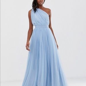 One-Shouldered Blue Tulle Ball Gown